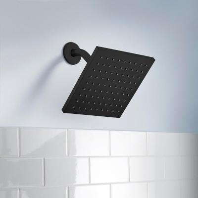 Modern 1-Spray 8.8 in. Single Wall Mount Fixed Rain Shower Head in Matte Black