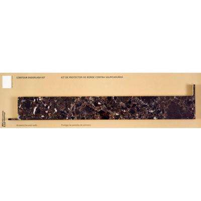 4-1/2 in. x 25-3/4 in. Marbella Laminate Countertop Reversible Contoured End Splash Kit in Breccia Nouvelle
