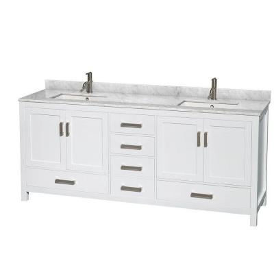 Sheffield 80 in. Double Vanity in White with Marble Vanity Top in Carrara White