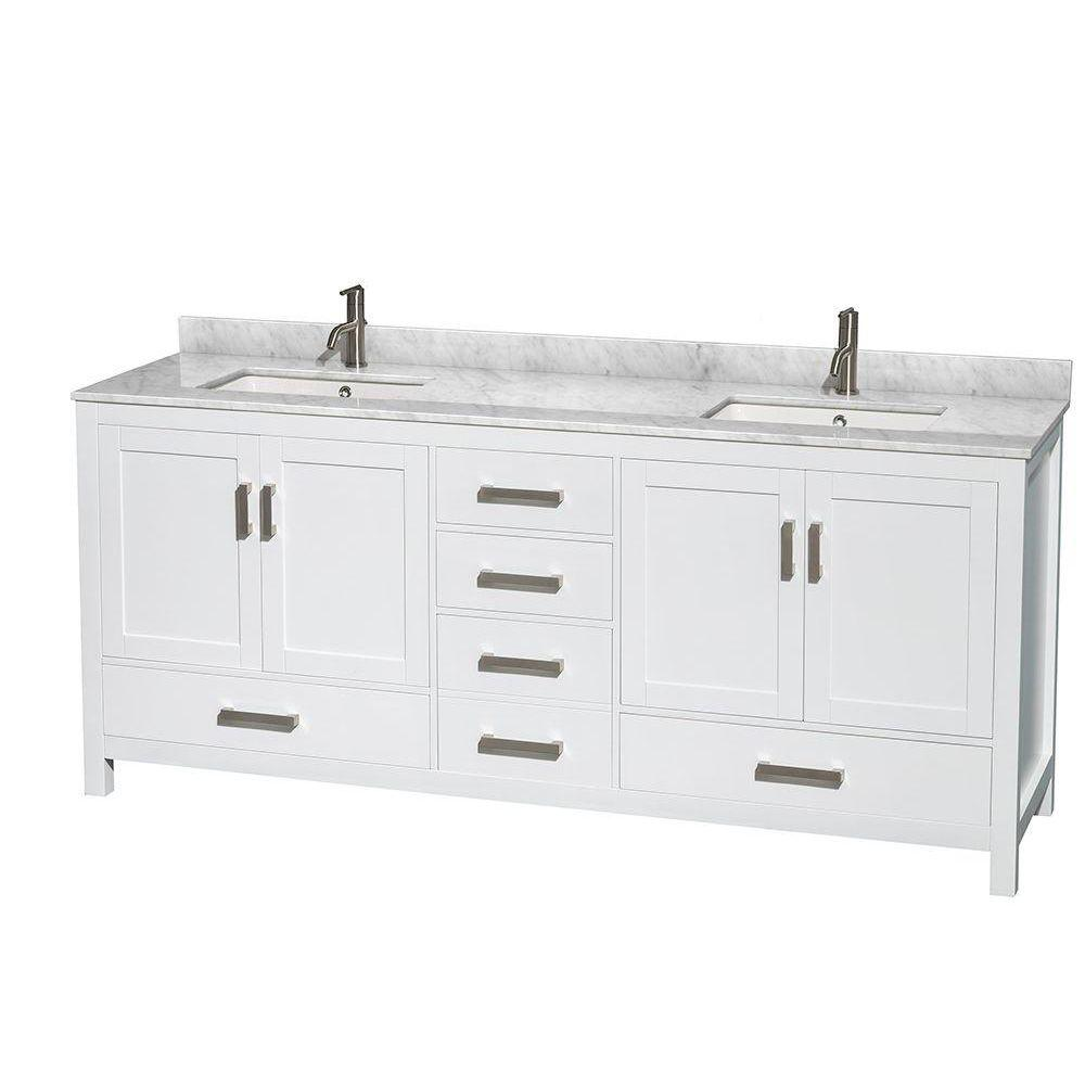 Wyndham Collection Sheffield 80 in. Double Vanity in White with Marble Vanity Top in Carrara White