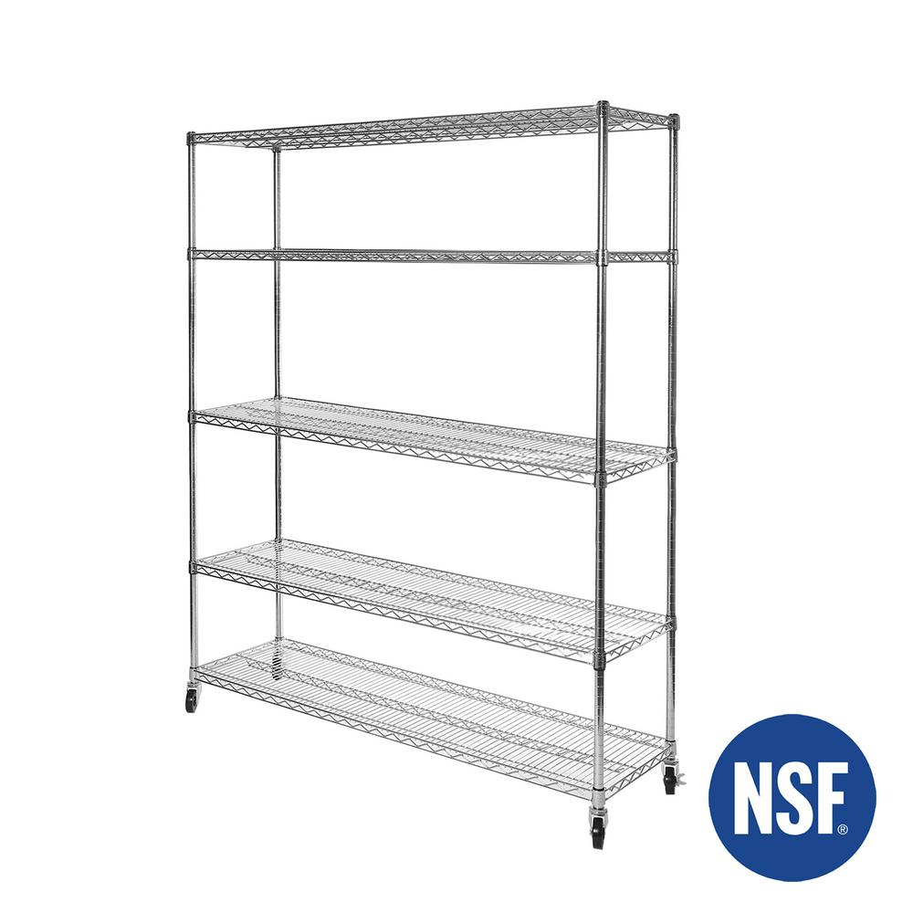 Seville Classics 60 in. W x 24 in. D. x 72 in. H, UltraDurable Commercial-Grade 5-Tier NSF-Certified Wire Shelving with Wheels