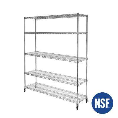 60 in W x 24 in D. x 72 in H, UltraDurable Commercial-Grade 5-Tier NSF-Certified Wire Shelving with Wheels