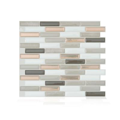 Milenza Andrea Brown 10.20 in. W x 9 in. H Peel and Stick Self-Adhesive Decorative Mosaic Wall Tile Backsplash (4-Pack)