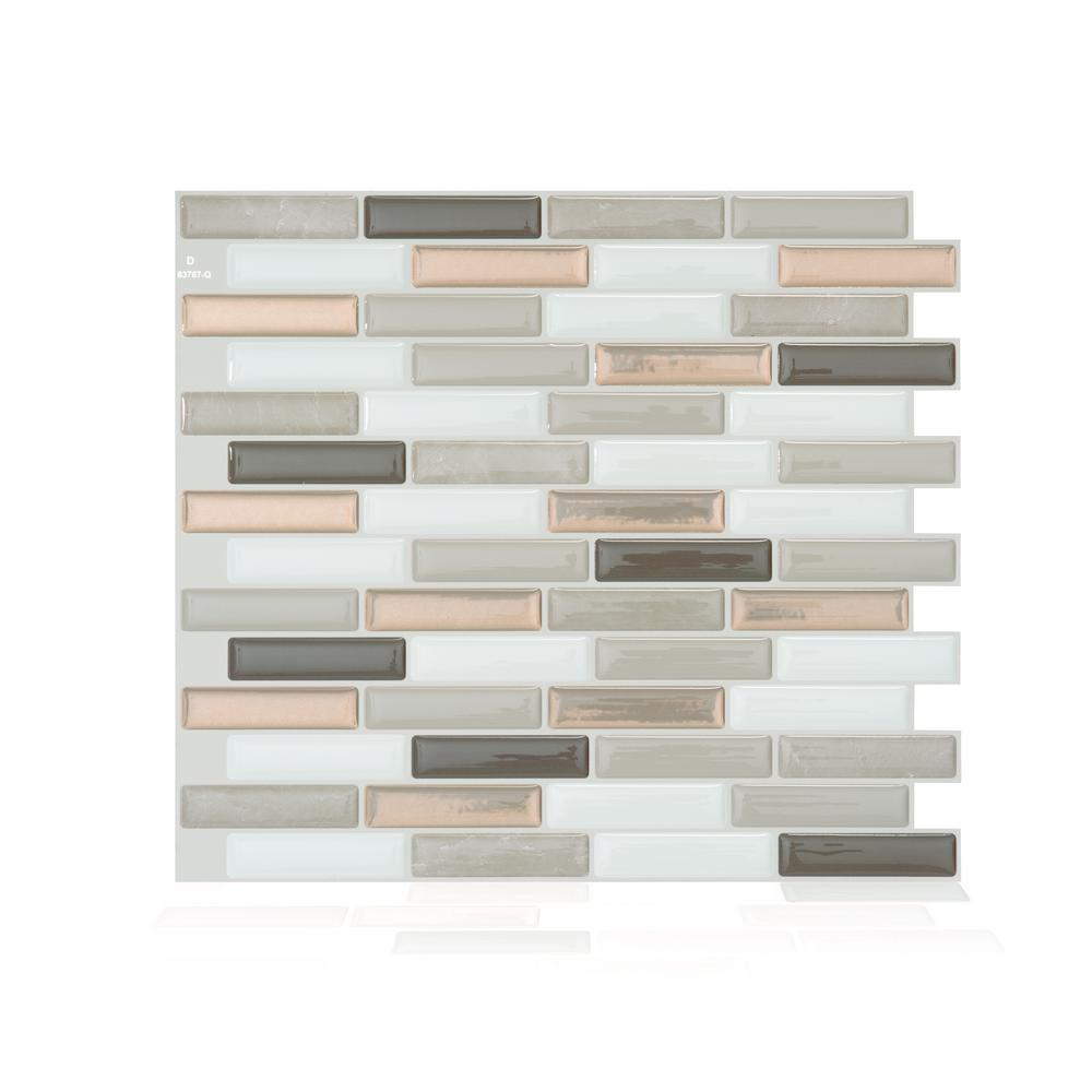 SmartTiles Smart Tiles Milenza Andrea Brown 10.20 in. W x 9 in. H Peel and Stick Self-Adhesive Decorative Mosaic Wall Tile Backsplash (4-Pack), Beige/ Brown and