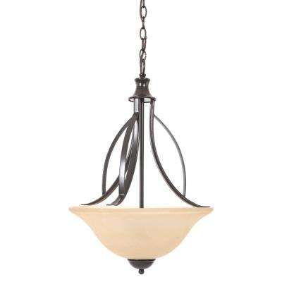 Tioga Pass 3-Light Oil-Rubbed Bronze Pendant with Amber Scavo Glass Shade