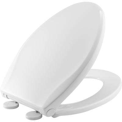 Push n'Clean Elongated Closed Front Toilet Seat in White