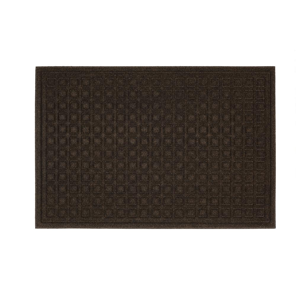TrafficMaster TrafficMASTER Textures Blocks Walnut 24 in. x 36 in. Impressions Door Mat, Brown