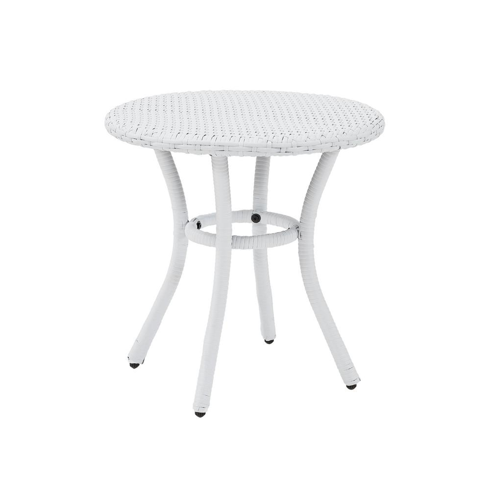Crosley White Wicker Outdoor Side Table Palm Harbor