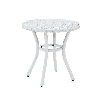 White Wicker Outdoor Side Table Palm Harbor