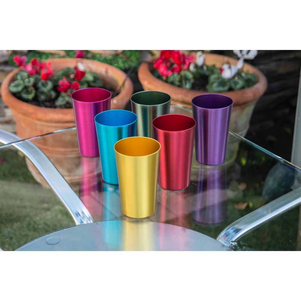 18 oz. 6-Piece Assorted Color Retro Aluminum Tumblers