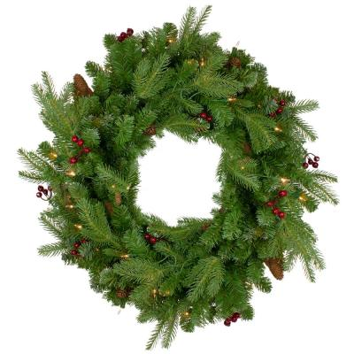 24 in. Pre-Lit Mixed Winter Berry Pine Artificial Christmas Wreath - Clear Lights