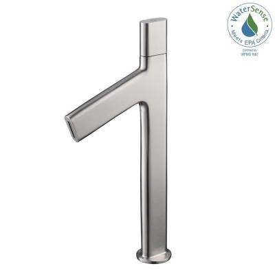 Ino Single Hole Single-Handle High-Arc Vessel Bathroom Faucet in Brushed Nickel