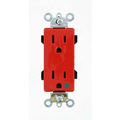 Decora Plus 15 Amp Hospital Grade Extra Heavy Duty Isolated Ground Duplex Outlet, Red
