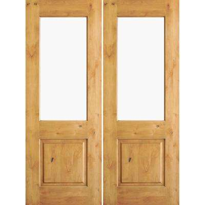 64 in. x 80 in. Rustic Knotty Alder Half-Lite Clear Glass Unfinished Wood Right Active Inswing Double Prehung Front Door