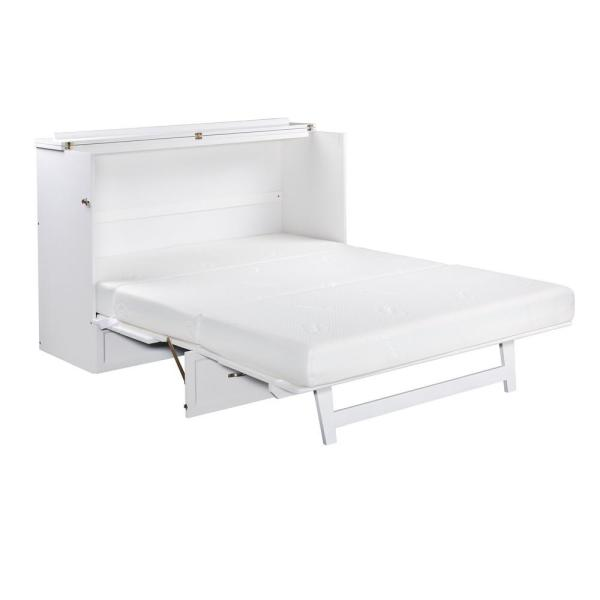 Atlantic Furniture Deerfield Murphy Bed Chest Queen White With Charging Station Ac584142 The Home Depot