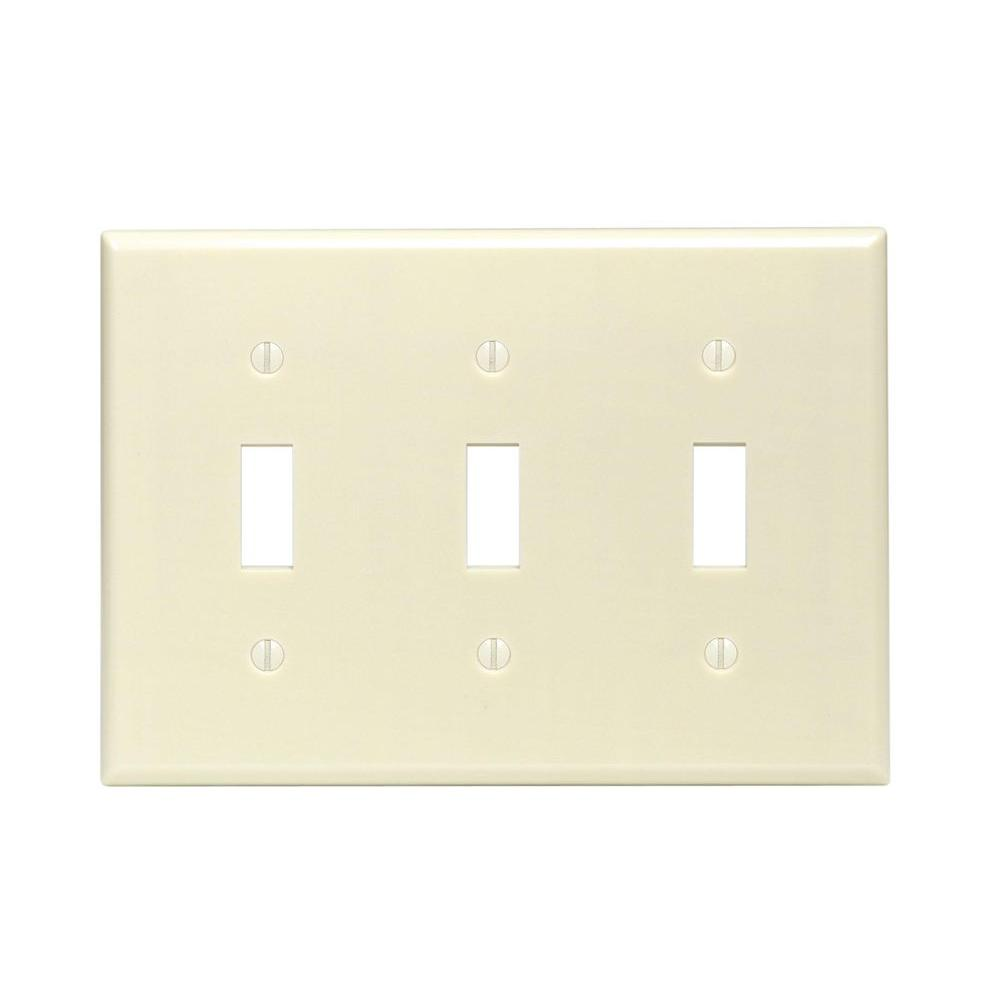 3-Gang Toggle Wall Plate, Ivory