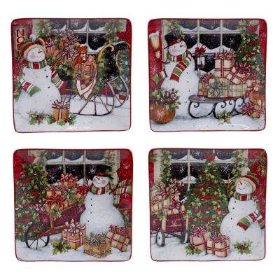 Snowman's Sleigh 10.25 in. Dinner Plate (Set of 4)