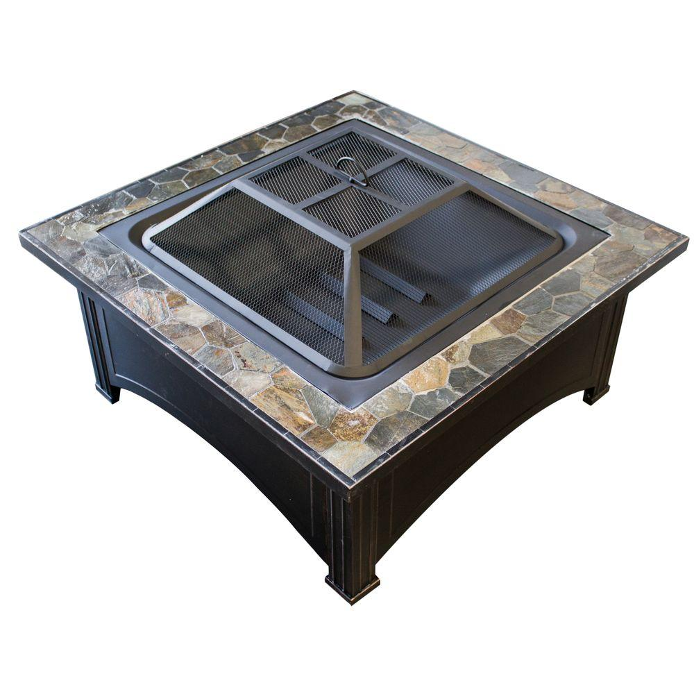 AZ Patio Heaters 36 in. Slate Wood Burning Fire Pit in Black