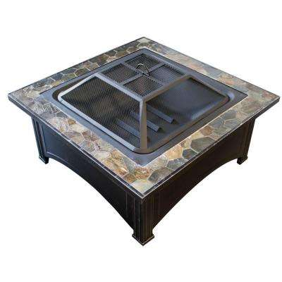 36 in. Slate Wood Burning Fire Pit in Black