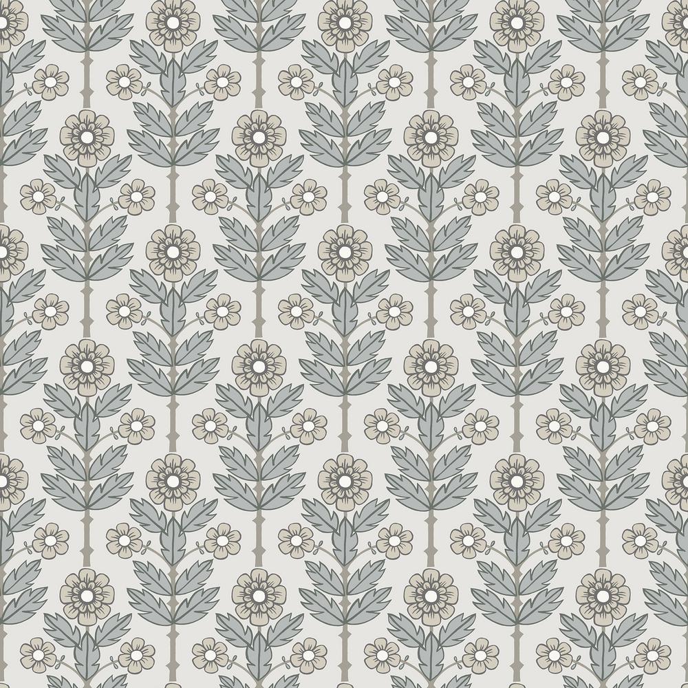 Aya White Floral Wallpaper