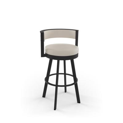 Browser 30 in. Cream Faux Leather / Dark Brown Metal Swivel Bar Stool