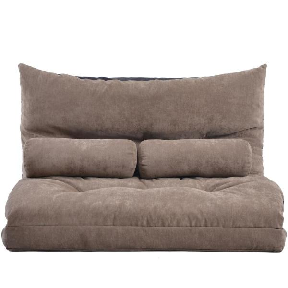 Light Brown Adjustable Folding Futon Sofa Bed with 2-Pillows