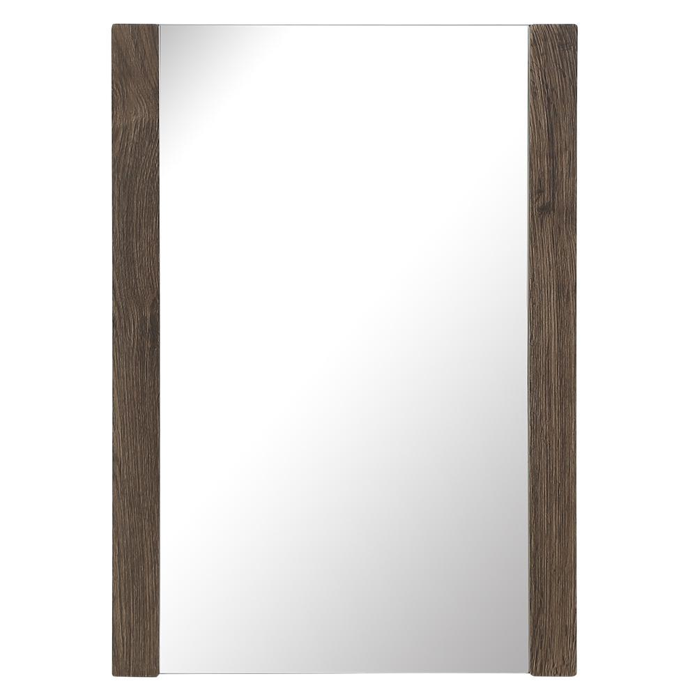 20 in. W x 28 in. H Single Framed Wall Mirror in Vintage Oak