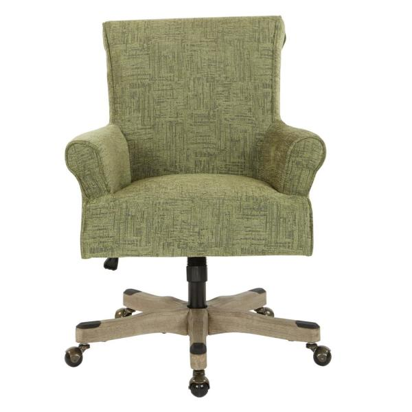Megan Olive Fabric Office Chair with Grey Wash Wood