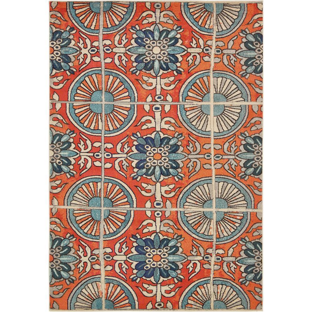 Estrella Salma Orange/Blue 7 ft. x 10 ft. Floral Area Rug