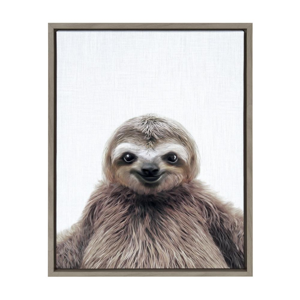 Kate And Laurel Sylvie Sloth Color By Tai Prints Framed Canvas Wall Art 213997 The Home Depot