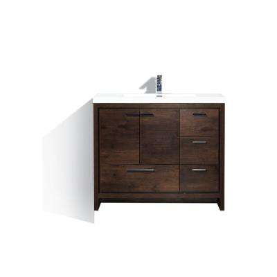 Dolce 42 in. W Bath Vanity in Rosewood with Reinforced Acrylic Top in White with White Basin and Right Side Drawers