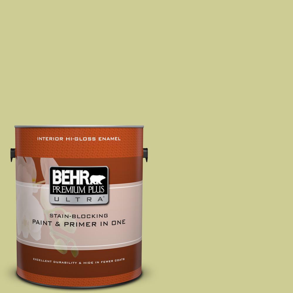 1 gal. #400D-4 Corn Husk Green Hi-Gloss Enamel Interior Paint