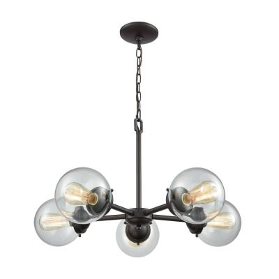 Soho 5-Light Oil Rubbed Bronze Chandelier with Glass Shades