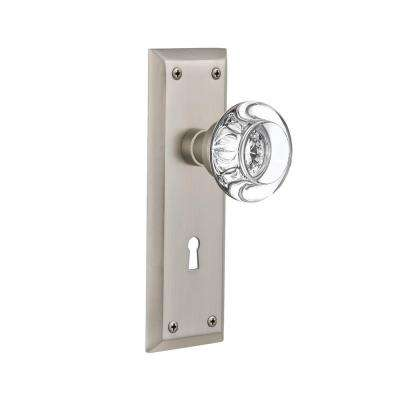 New York Plate with Keyhole 2-3/8 in. Backset Satin Nickel Passage Clear Crystal Glass Door Knob