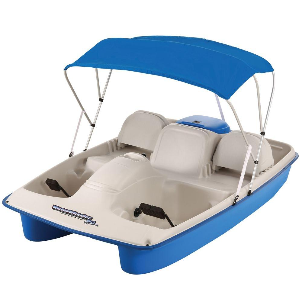 null Water Wheeler 5-Person Pedal Boat with Canopy and Adjustable Seat Lounger