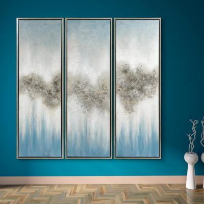 Abstract Triptych Set Textured Metallic Hand Painted by Martin Edwards Framed Canvas Wall Art