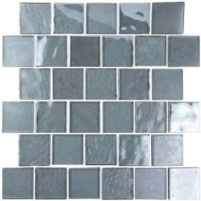 Landscape Gray Translucent 12.25 in. x 12.25 in. x 6.35mm Glass Mosaic Tile