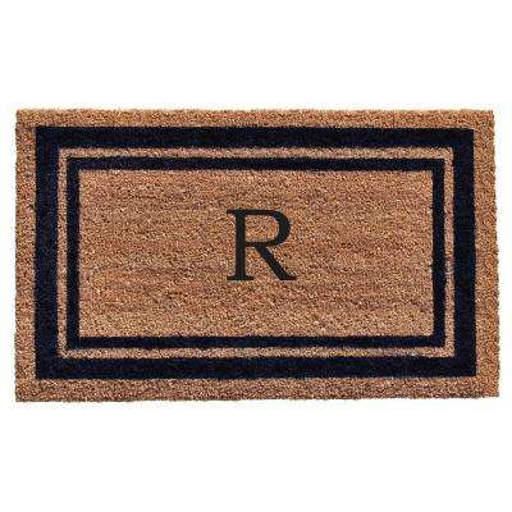 Dark Blue Border Monogram Door Mat 24 in. x 36 in. (Letter R)