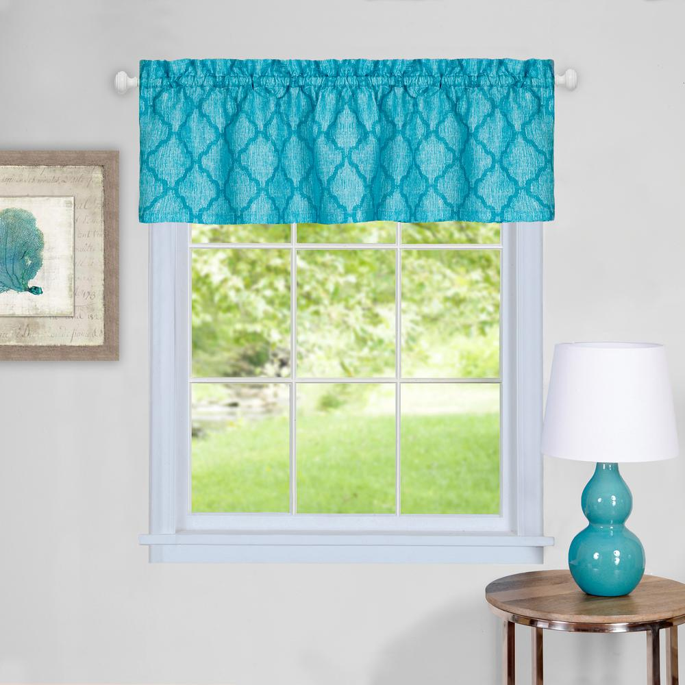 Achim Colby 14 in. L Polyester Valance in Turquoise
