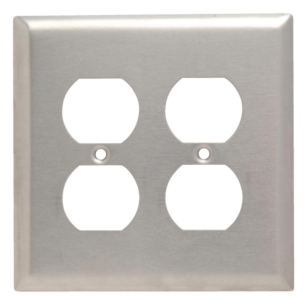 302 Series 2-Gang Junior Jumbo Duplex Wall Plate in Stainless Steel