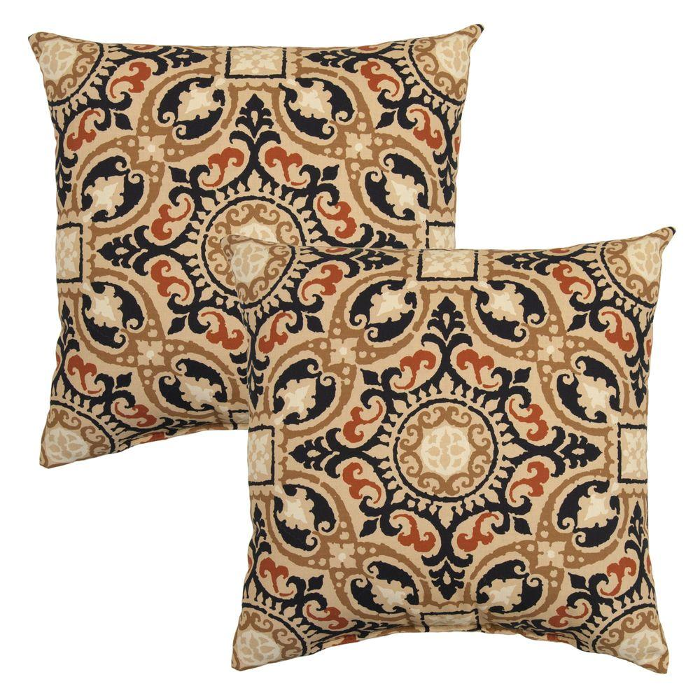 Charcoal Medallion Square Outdoor Throw Pillow (2-Pack)