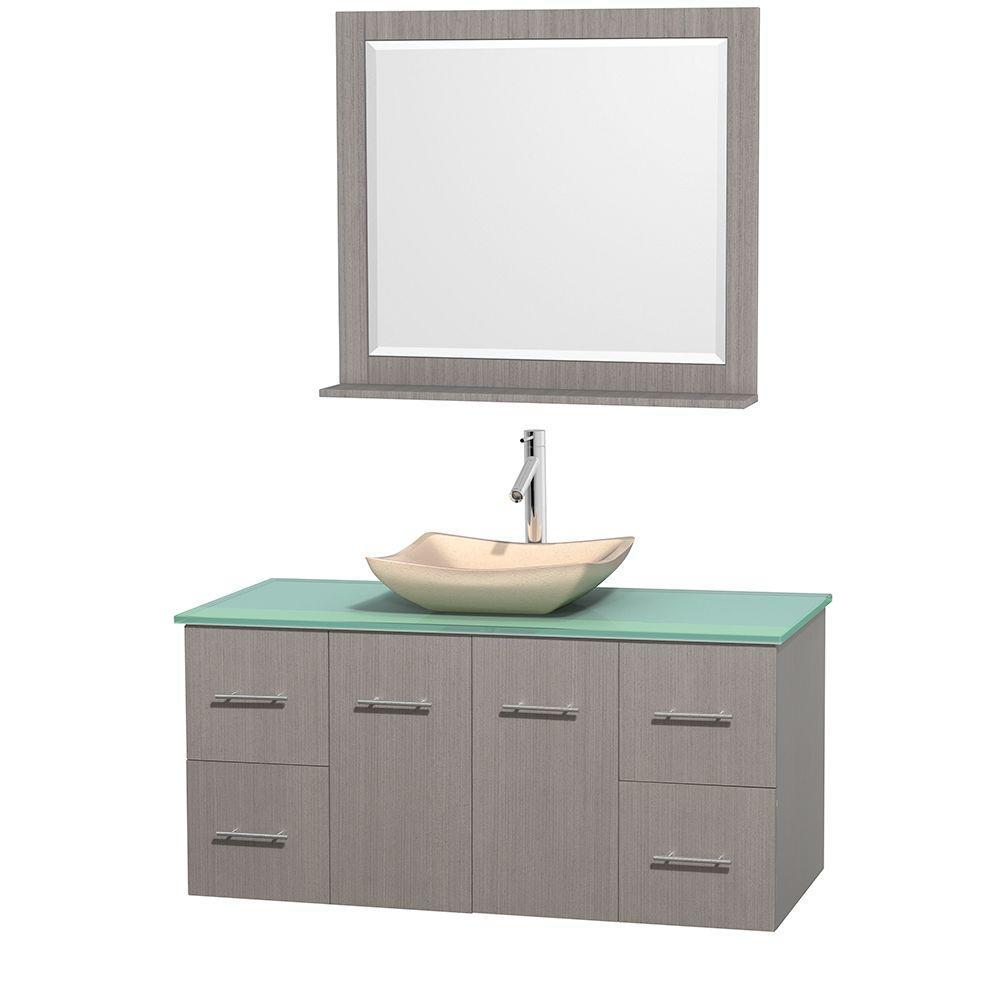 Centra 48 in. Vanity in Gray Oak with Glass Vanity Top