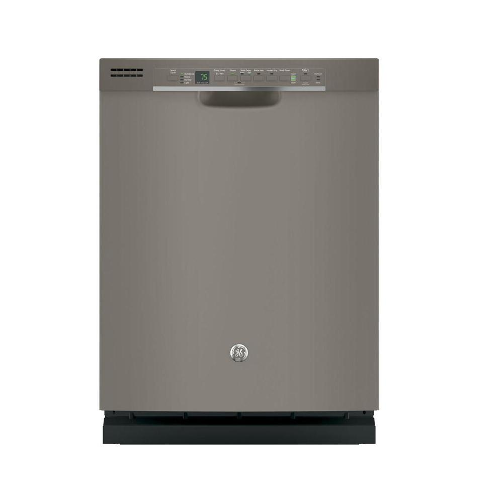 GE Front Control Dishwasher in Slate with Steam Prewash, Fingerprint Resistant