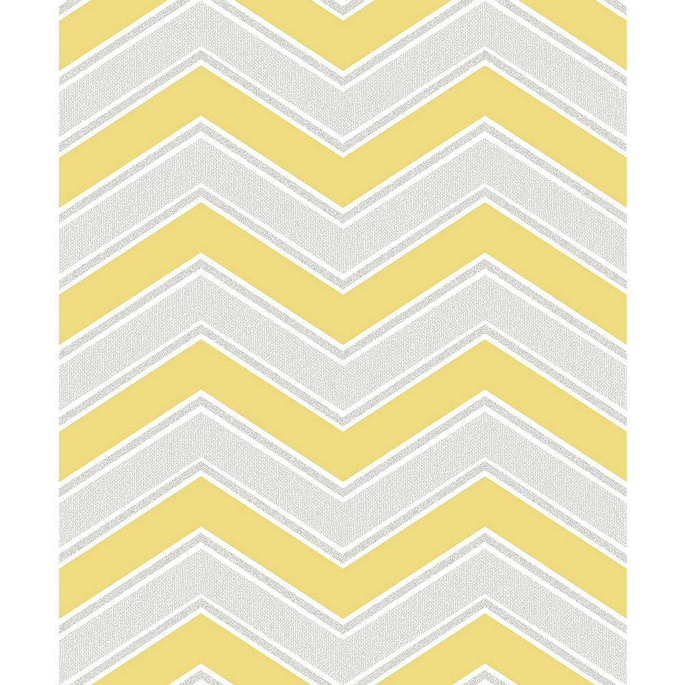 Coloroll 56 4 Sq Ft Serena Yellow Chevron Wallpaper M1144 The