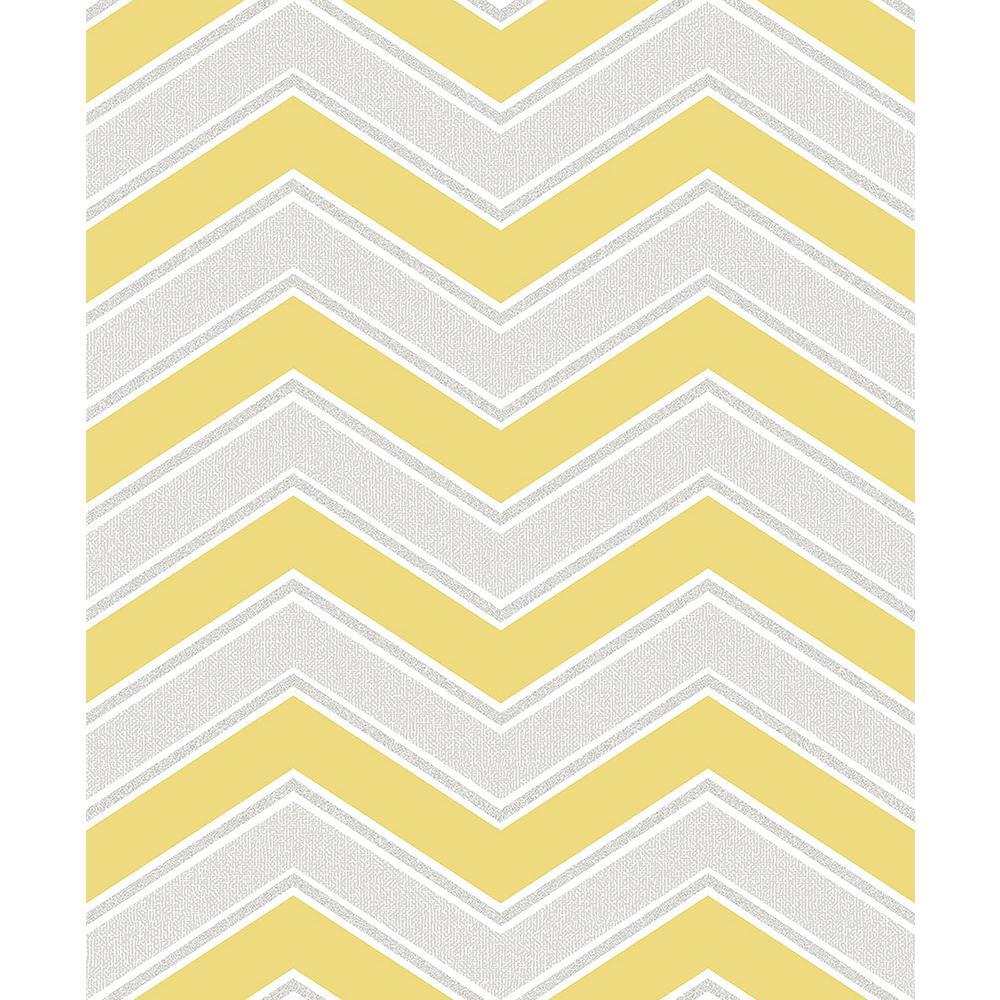 Coloroll 56.4 sq. ft. Serena Yellow Chevron Wallpaper