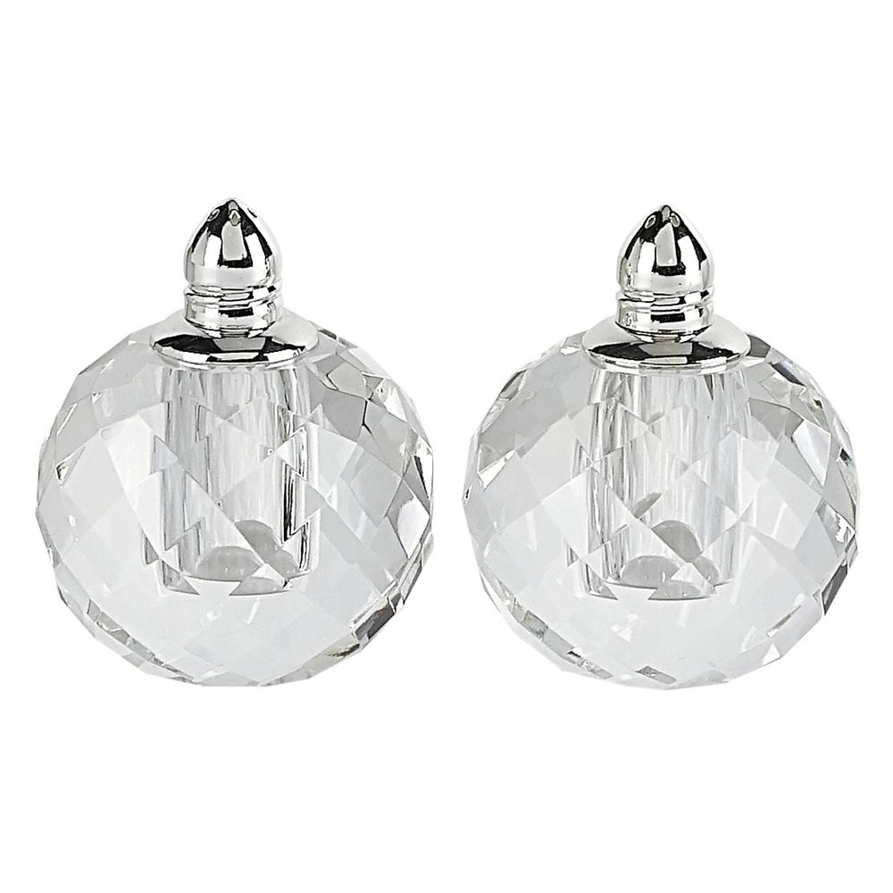 Handmade Lead Free Crystal Pair Salt and Pepper Clear Zendra Platinum