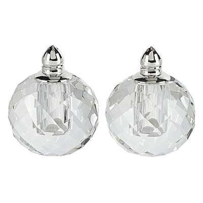 Handmade Lead Free Crystal Pair Salt and Pepper Clear Zendra Platinum Tall
