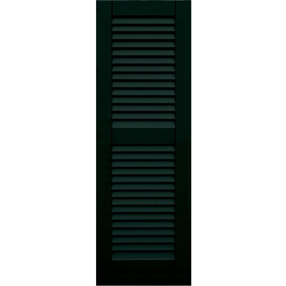 Winworks Wood Composite 15 in. x 45 in. Louvered Shutters Pair #654 Rookwood Shutter Green