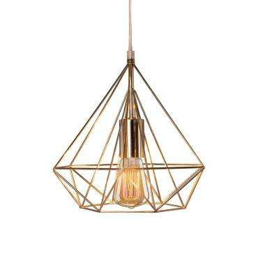 Fangio Lighting's 10 in. 1-Light Polished Nickel Diamond Cage Metal Pendant