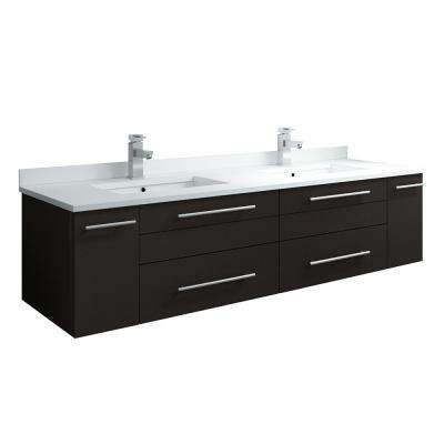 Lucera 60 in. W Wall Hung Bath Vanity in Espresso with Quartz Stone Double Sink Vanity Top in White, White Basins